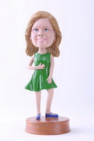 Premium girl with dress custom bobblehead doll