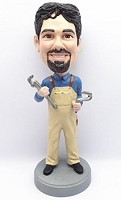 Man Holding Wrenches custom bobblehead doll