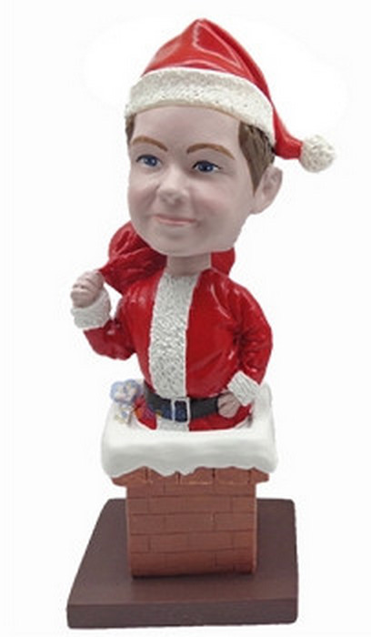 Premium Santa with chimney custom bobblehead