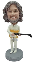 Male playing a guitar wearing fashionable outfit custom bobblehead doll