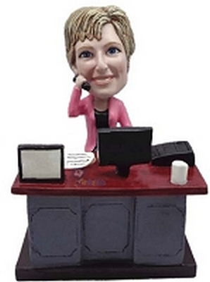 Female Executive at desk custom bobblehead doll
