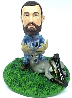 Premium male hunter with deer and bow custom bobblehead doll