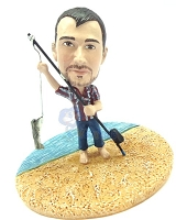 Premium male fisherman standing at the shoreline custom bobblehead doll
