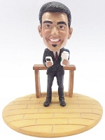 Premium male with phone and coffee custom bobblehead doll