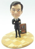 Premium male business man with book case custom bobblehead doll