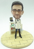 Premium male Dr with work station custom bobblehead doll