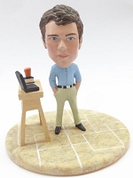 Premium male casual with work station custom bobblehead doll