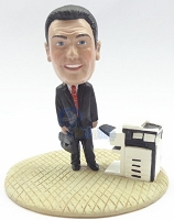 Premium male executive with brief case and copy machine custom bobblehead doll