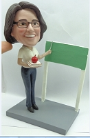 Premium Female Teacher with book/apple and board custom bobblehead doll