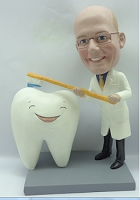 Premium dentist brushing a big happy tooth custom bobblehead