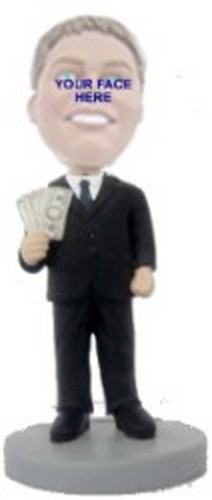 Man with money in suit Custom Bobble Head