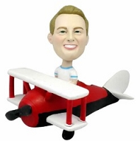 Man in Bi-plane custom bobblehead doll (bobbing doll)