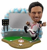 Baseball Player with Frame personalized bobblehead doll