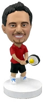 Tennis player in Red personalized bobblehead doll