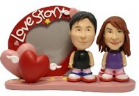 Love Story Frame Couple Custom Bobble Head | Gift Ideas For Couples
