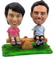 See Saw On Grass Couple Custom Bobble Head | Gift Ideas For Couples