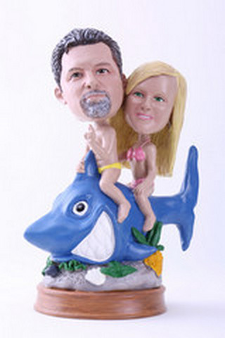Riding a shark couple custom bobblehead doll (bobbing doll)