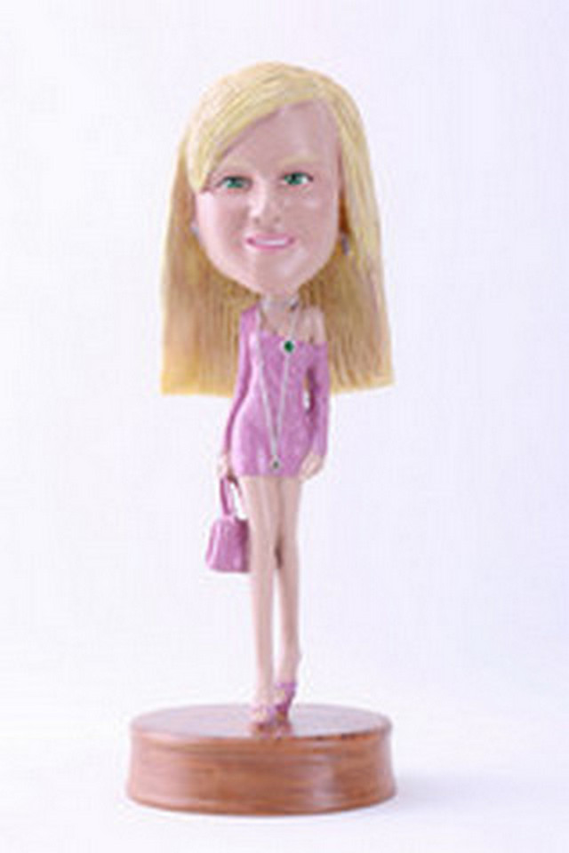 Girl with hand bag custom bobblehead doll Premium (bobbing doll)