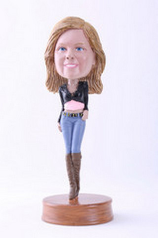 Custom Bobble Head Girl With Short Top Premium | Gifts For Women