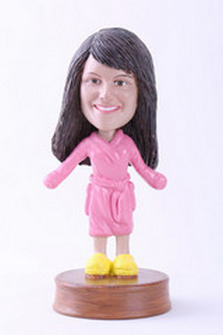 Girl in bathrobe custom bobblehead doll Premium