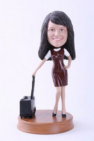Girl with suitcase custom bobblehead doll 2 Premium
