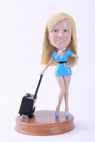 Girl with suitcase custom bobblehead doll Premium
