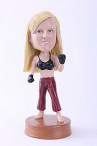 Custom Bobble Head Girl Kick Boxer Premium | Gifts For Women