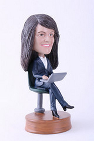 Girl sitting with laptop custom bobblehead doll Premium