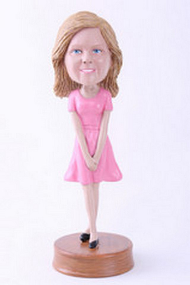 Girl with hands together custom bobblehead doll Premium (bobbing doll)