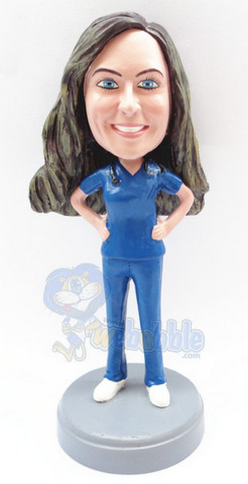 Female surgeon custom bobblehead (bobbing doll)