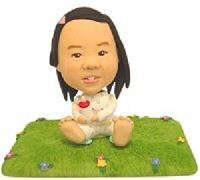 Baby Sitting on lawn custom bobblehead doll