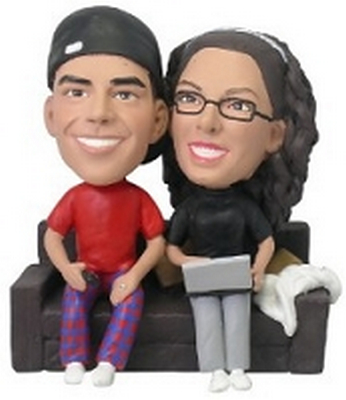 Computer Couple On Couch Custom Bobble Head | Gift Ideas For Couples