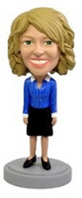 Custom Bobble Head Blue Blouse Office Worker | Gifts For Women