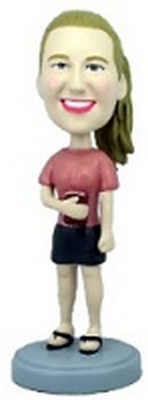 Custom Bobble Head School Girl With Book | Gifts For Women