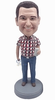 Casual Male in jeans custom bobblehead doll  2 holding can