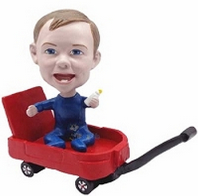 Baby Boy in wagon custom bobblehead doll