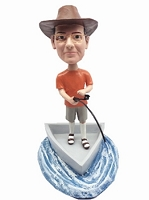 Man in boat fishing custom bobblehead doll (bobbing doll)