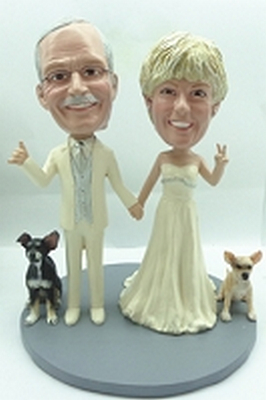 Wedding Couple New With 2 Dogs Custom Bobble Head | Gift Ideas For Couples