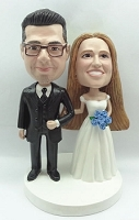 Wedding couple standing arm in arm before the vows custom bobblehead doll