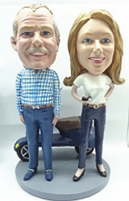 couple with a Vespa custom bobblehead doll