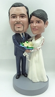 Wedding couple arm in arm custom bobblehead doll 3