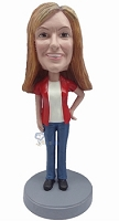 Custom Bobble Head Casual Female 4 | Gifts For Women