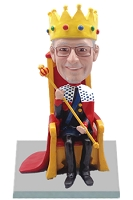 Male king on throne custom bobblehead doll