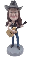 Female guitar playing custom bobblehead doll in tank top