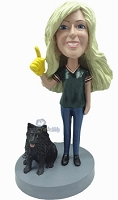 Custom Bobble Head #1 Fan With Dog Female | Gifts For Women