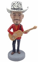 Male guitar wearing jacket and jeans custom bobblehead doll