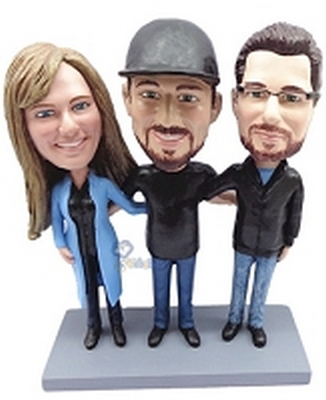 3 Person (1 Female, 2 Male) Custom Bobble Head | Gift Ideas For Couples