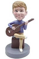 Male Sitting Playing A Guitar Custom Bobble Head | Gift Ideas For Men