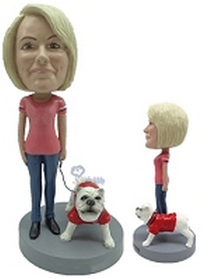 Custom Bobble Head Female With Dog 5 | Gifts For Women
