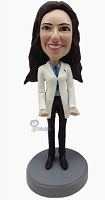 Custom Bobble Head Business Card Holder | Female Doctor